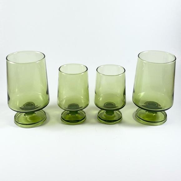 Vintage set of 4 multi size green goblet glasses